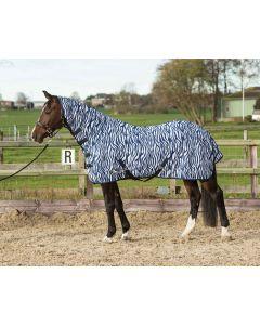 Harry's Horse Flysheet Mesh mit Hals & Gurt, Zebra mittelalterliches Blau