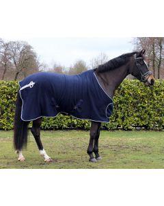 QHP Fleece Decke mit ornament Grau/silber 195