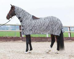 Harry's Horse fliegedecke Mesh, Halsteil und lammfell sattelkissenoffnung, Zebra Gray